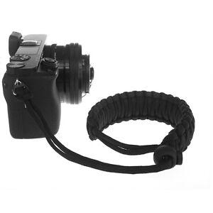 Braided 550 Paracord Adjustable Camera Wrist Strap Bracelet f DSLR SLR (Black)