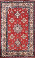 NEW Geometric Super Kazak Oriental Area Rug Wool Hand-Knotted 3x5 ft Red Carpet