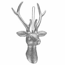 22cm Reindeer Stag Head Silver Glitter Hanging Christmas Decoration