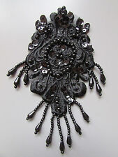 Black Beaded Sequin Embroidered  Applique Sewing/Costume/Crafts/Victorian/Bridal