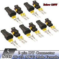 5 Sets 2 Pin DT Connector Kit 18-22 AWG Male&Female For Work Light below 120W