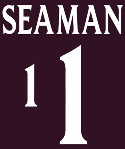 England Seaman 00-02 Nameset Shirt Soccer Number Letter Heat Print Football A