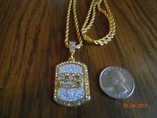 MIP-Jumpman #23 Dog Tag /gold tone with clear stones and matching 24 inch chain