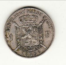 BELGIQUE LEOPOLD II 1 FRANC 1886 FLAMANT TTB