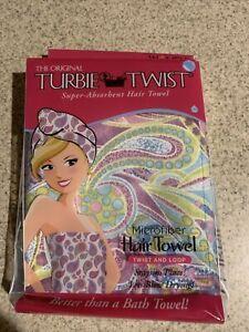 The Original Turbie Twist Microfiber Super-Absorbent Hair Towel New Purple Print