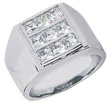 2.50 carat 9 Princess cut Diamond Ring Mens Heavy 14k White Gold Band, F-G Si1