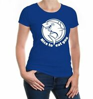 Damen Kurzarm Girlie T-Shirt Nice to eat you Killerhai Hai shark