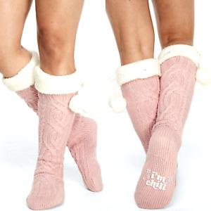 Victoria's Secret PINK CABLE KNIT Sherpa Lined Pom Pom KNEE HIGH SOCKS + Bonus!