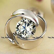 925 Sterling Silver Crystal flower Stud earrings CZ Cubic Zirconia Xmas Gift Mum
