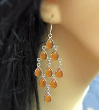 Stunning New Sterling Silver 925 Baltic Amber Chandelier Dangly Long Earrings