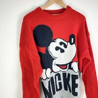 Mickey Mouse Disney Vintage J.G. Hook Red Color Block Knit Sweater Womens XL