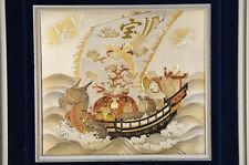 Japan Lucky Item TAKARABUNE Treasure Boat Metal Artwork Framed Free Ship 637k13