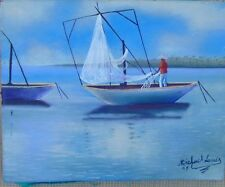"Original Haiti Art Painting Oil on CANVAS MICHAEL lOUIS 8""X 10"" SEASCAPE"