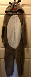 North Pole Trading Co Kids Unisex Size10 Sleeper Reindeer Pajamas Halloween Xmas
