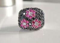 BIG Sterling Silver 925 Designer Black Spinel Ruby Cluster Cocktail Ring Size 5