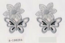 Lot 2 Gray Flower Butterfly Embroidery Applique Patch