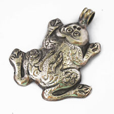 Repousse Frog Pendant Tibetan Silver Plated Nepalese Handmade Tibet Nepal UP1192