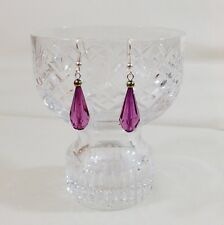 Womens Purple Acrylic Crystal Tear Drop Rainbow Bead Dangle Pierced Earrings