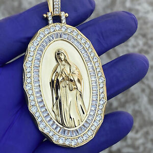 "14K Gold Plated Over 925 Silver La Virgen de Guadalupe Oval Pendant Large 2.75"""