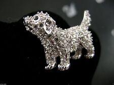 SIGNED SWAROVSKI PUPPY DOG PIN ~ BROOCH RETIRED RARE NEW