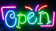 """New Open Business Real Glass Beer Neon Sign 17""""x8"""" Fast Ship"""