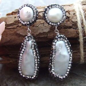 "GE021315 1.9"" Biwa Pearl Trimmed With Marcasite Earrings CZ Stud"