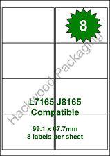 8 Labels per Sheet x 20 Sheets L7165 / J8165 White Matt Copier Inkjet Laser