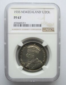 New Zealand 1935 Half Crown 2/6, NGC Proof 67, None Graded Higher, Mintage 364