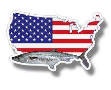 King Mackerel Fish USA Flag Sticker Car Cup laptop Fishing Window Bumper Decal