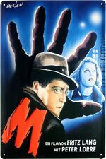 M von Fritz Lang mit Peter Lorre geprägt Reklame Blechschild 20x30 cm Blech 1844