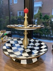MACKENZIE-CHILD'S  COURTLY CHECK ENAMEL 2 TIERED SWEET STAND,NEW With DEFECT