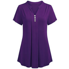 S-6XL Plus Size Women Short Sleeve V Neck Loose T Shirt Casual Tunic Tops Blouse