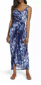 Tommy Bahama Dress L Blue $185 Under The Si Tambour Maxi Dress Gathered Navy