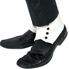 White Spats 1920s Shoes Fancy Dress Accessory