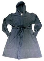 One World Womens Size L Dark Gray Hooded Half Zip Belted Long Sweatshirt Jacket