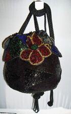 Vintage Christian DIOR CEINTURES Black Beaded Floral  Drawstring Purse Bag MINT