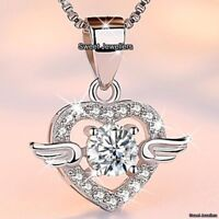 Angel Heart Necklace Silver Crystal Xmas Gifts For Her Mum Daughter Sister Women