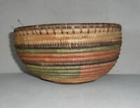 """Vintage Wicker Grass Hand Woven Coil Bowl Basket Multi Colored 5"""" T 8.5"""" W"""