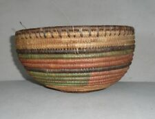 "Vintage Wicker Grass Hand Woven Coil Bowl Basket Multi Colored 5"" T 8.5"" W"