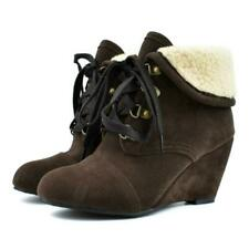 Winter Women's Fashion Pointed Toe Lace Up Wedge Heels Ankle Boots Shoes Outdoor