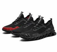 Men's Athletic Sneakers Breathable Sports Running walking Shoes black red gray