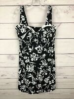Swimsuits For All Black Floral One Piece Swim Dress  Size 14 NEW