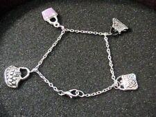 Bracciale cavigliera ciondoli charms borsette argento rodiato anallergico NUOVO