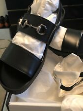 Gucci Mens Black Leather Horsebit Sandals Rubber Lug Soles 473501 US Sz 14