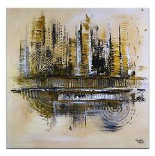 BURGSTALLER Wandbild Leinwandbild abstrakte Kunst Bild Gemälde 80x80 Silber Gold