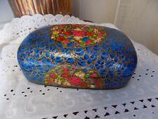 ANTIQUE PAPIER MACHE/laquer  BOX EXQUISITE Floral Blue Gold  BEAUTIFUL!