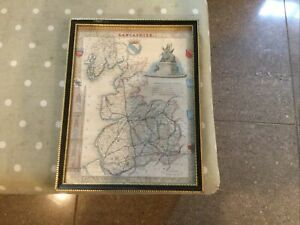 Framed Map Of Lancashire VINTAGE ? Antique ? Approx 11 X 9 Inches