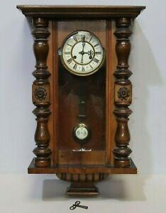 Antique Gustav Becker Carved Oak Vienna Regulator WALL CLOCK Porcelain Dial-250