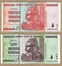 Zimbabwe 20 50 Trillion Dollars 2008 VF currency bills