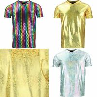 T-Shirt Shiny GOLD SILVER Mermaid Scales Festival Party Metallic Sparkling